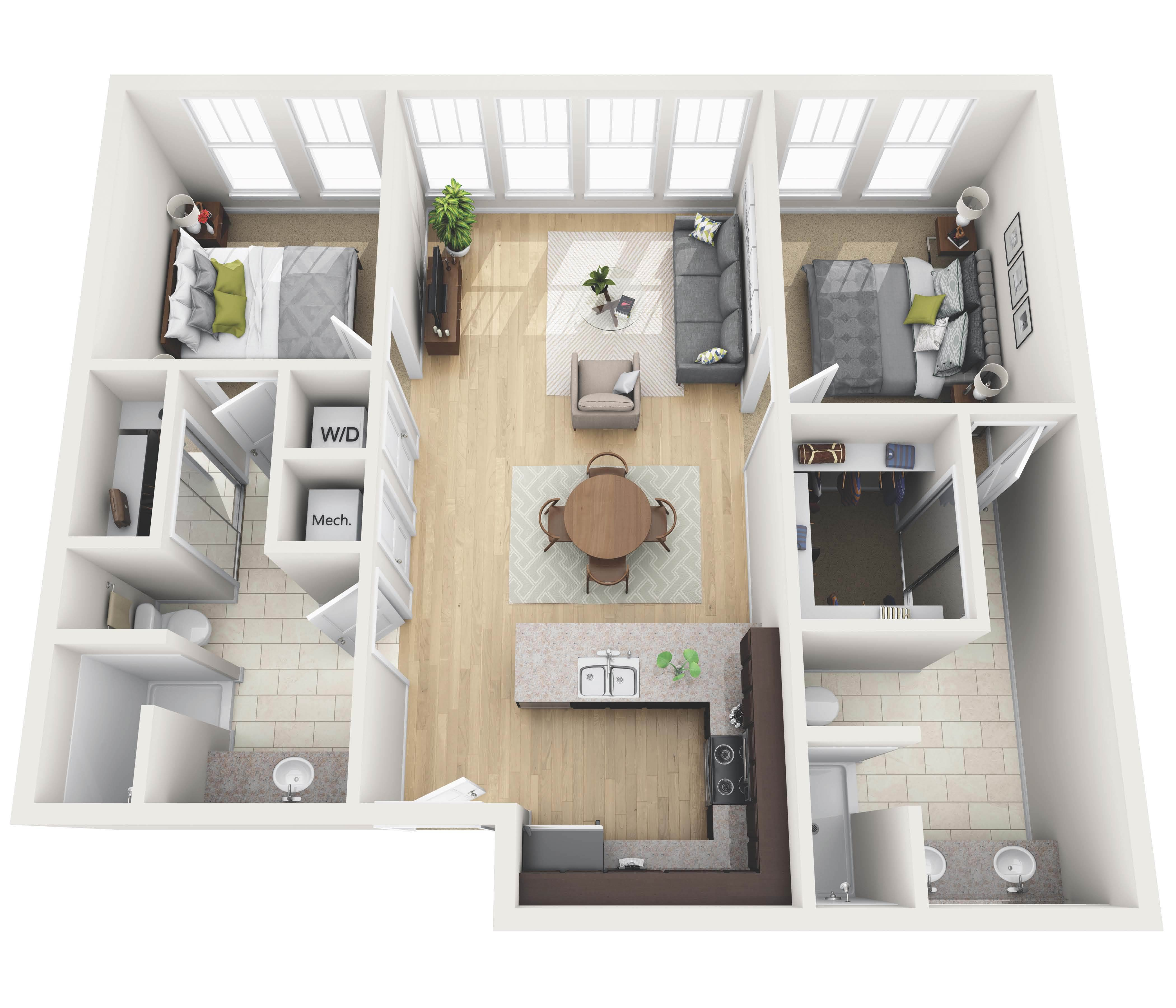 Chesterfield Lofts The Wooten Company - Loft apartment floor plans